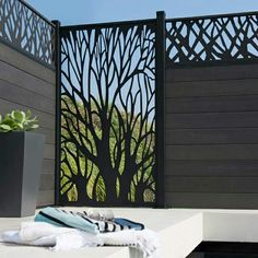vertical patio sun shade in tree pattern