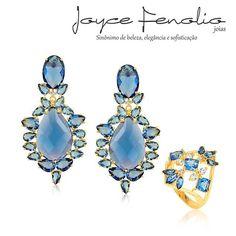 Acesse: www.joycefenolio.com.br  Maravilhoso Conjunto Cristal Azul ❤ - ✅Pedidos via direct ou WhatsApp 19 984289457 ✅Entregas para todo o Brasil ! #semijoias #joycefenoliojoias #luxo #tendencia #tops #elegant #modafeminina #stylish #bomdia