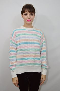 90s Pastel Sweater Jumper Soft Grunge Kawaii Chunky by gothwave, $17.00