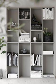 biggest VALJE shelf units, which are turned sideways - IKEA bookcase hack by Anna Kubel