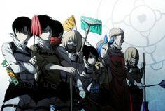Shingeki no Kyojin/Attack on Titan - Cleaning Squad: Rivaille, Eren Jaeger, Mikasa Ackerman, Armin Arlert, Sasha Braus, Connie Springer, Jean Kirstein, Christa Renz.