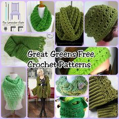 Great Greens Free Crochet Patterns - The Lavender Chair Crochet Scarves, Crochet Shawl, The Lavender Chair, Holiday Crochet, Crochet Stitches Patterns, Diy Crochet, Crochet Ideas, Crochet Accessories, Crochet Projects