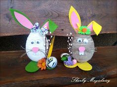 Skarby Magielnicy : Wielkanocne inspiracje - kolorowe zające Easter Bunny, Egg, Projects To Try, Christmas Ornaments, Holiday Decor, Handmade, Crafts, Frames, Easter Activities