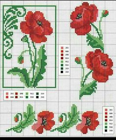 Poppies and borders cross stitch pattern with key Cross Stitch Borders, Cross Stitch Rose, Cross Stitch Flowers, Cross Stitch Charts, Cross Stitch Designs, Cross Stitching, Cross Stitch Embroidery, Embroidery Patterns, Cross Stitch Patterns