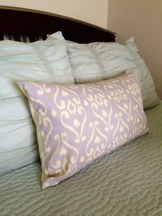 Soft Lilac Ikat Lumbar Pillow Cover 14 x 28 by RHCollection