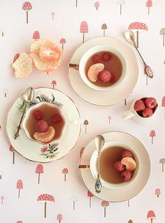 mandarin and jasmine tea cup jellies with raspberries