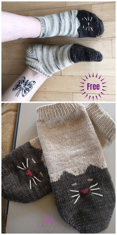 Knit Ying Yang Kitty Cat Ankle Sock Free Knitting Pattern You are in the right place about stricken Knitting Socks, Free Knitting, Knit Socks, Baby Knitting Patterns, Crochet Patterns, Knit Sock Pattern, Free Pattern, Knitted Cat, Patterned Socks
