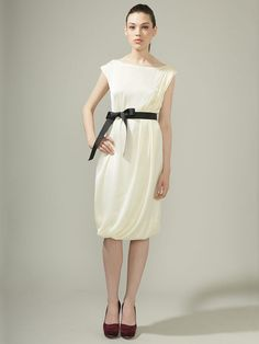 Adele Pleated Dress by Miguelina. Simple and elegant.