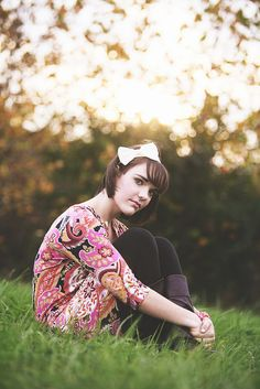 #girl #senior in a #meadow at #sunset