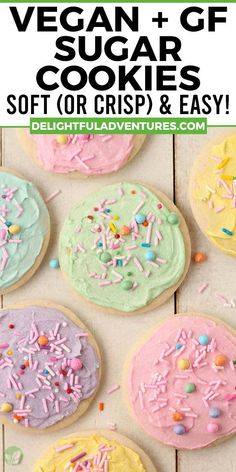 Easy, homemade cut-out gluten-free vegan sugar cookies you can make for Easter, Christmas, Valentine's, and even Halloween…they're perfect for ANY occasion! These vegan gluten-free cookies can be made soft or crispy, it's up to you. And yes, they're 100% egg-free, dairy-free, nut-free, gf, and delicious! Decorate with buttercream frosting or a simple vegan icing that hardens, recipes for both are included. Free Gf, Egg Free, Dairy Free, Vegan Treats, Vegan Desserts, Vegan Food, Vegan Gluten Free Cookies, Gluten Free Sugar Cookies, Vegan Recipes Easy