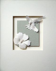 Paper Sculpture by Calvin Nicholls - AmO Images - AmO Images Wafer Paper Flowers, Fabric Flowers, Kirigami, Cardboard Sculpture, Paper Sculptures, Arts And Crafts, Paper Crafts, Paper Birds, Paper Artwork