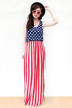 girls fourth of july maxi dress | red white blue, elastic waist