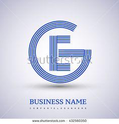 Letter GE or EG linked logo design circle G shape. Elegant blue colored letter symbol. Vector logo design template elements for company identity. - stock vector