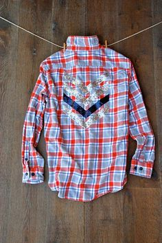 Boyfriend Flannel Shirt with Sequin Chevron Patch by ICaughtTheSun