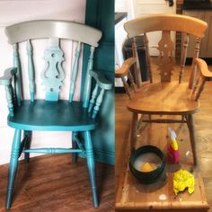 Painted in frenchic paint, blended 3 colours. Paint Furniture, Teal Blue, Upcycle, Dining Chairs, Hand Painted, Colours, Boho, Unique, Painting