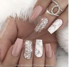 Marble Nail Designs, Cute Acrylic Nail Designs, White Nail Designs, Best Nail Designs, Popular Nail Designs, Coffin Nail Designs, Sparkly Nail Designs, Natural Nail Designs, Beautiful Nail Designs