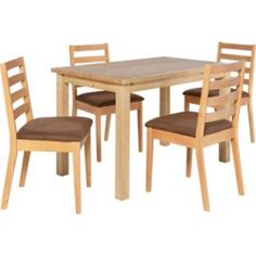 Buy Sharnbrook Oak Dining Table and 4 Chocolate Chairs at Argos.co.uk - Your Online Shop for Dining sets.