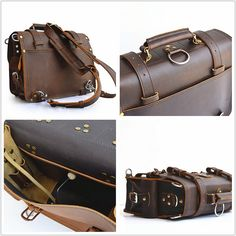 Handmade Mens Leather Briefcase Men Leather by SolidLeatherCo