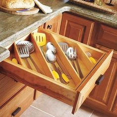 """DIY Diagonal drawer insert for kitchen utensils - I was able to incorporate this idea into my """"tools"""" drawer, and it went from messy and haphazard to organized and """"more room"""" in five minues! (I used the bamboo boxes I already had just positiined them diagonally. Next time I'm at Tuesday Morning (or BB&B), I'll get one more longer insert to help anchor everything in place."""