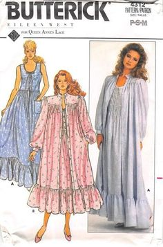 Very loose-fitting, flared robe, lower calf or evening length, pockets, bias hemline ruffle and long sleeves with bias cuffs. Nightgown, lower calf or evening length, has semi-fitted bodice (slightly