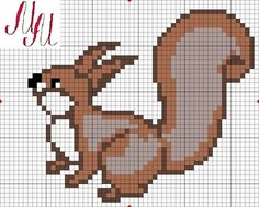images attach c 7 94 600 Knitting Charts, Knitting Stitches, Cross Stitch Charts, Cross Stitch Patterns, Modele Pixel Art, Cute Squirrel, Cross Stitch Animals, Filet Crochet, Repeating Patterns