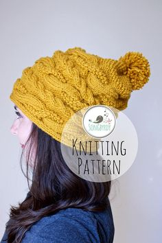 PDF PATTERN Cable Knit Slouchy Beanie Knitting Pattern