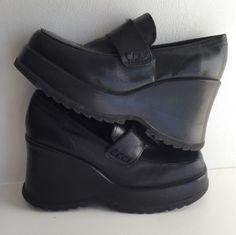 d036f96e737 STEVE-MADDEN-SCRAFT-Black-Leather-Platform-Chunky-Loafers -Women-039-s-Size-9-5
