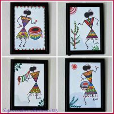 Diy art paintings how to make ideas Worli Painting, Pottery Painting, Fabric Painting, Madhubani Art, Madhubani Painting, Diy Art Projects Canvas, Indian Art Paintings, Abstract Paintings, Oil Paintings