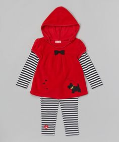 Look at this Buster Brown Red Dog Fleece Tunic
