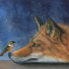 Two of my closest animal totems right here in this beautiful painting by Eileen Sorg. I LOVE this painting Animal Paintings, Animal Drawings, Art Drawings, Art Fox, Gato Animal, Art Fantaisiste, Fox Painting, Illustrator, Whimsical Art