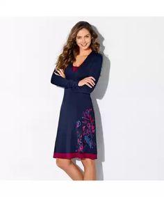 Blancheporte Šaty s potlačou a dlhými rukávmi nám.modrá/purpurová