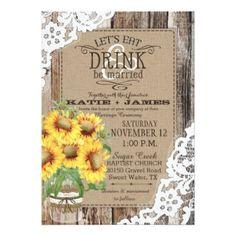 Rustic Country Sunflower Wedding Invitation