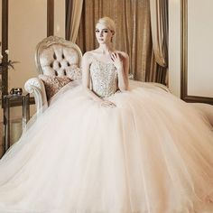 How sweet is this peachy jeweled gown from Kimmisook Wedding? #weddingdress #gown #blush #jewel #dress #princess #praisewedding