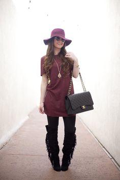 Burgundy   Fashion-Style-Fashion Blogger-Style Blog-Fall Fashion-Chanel-Hair Ideas-Hair Inspiration-Outfit Ideas-Outfit inspiration-Suede-Fringe-Boots-OTK Boots