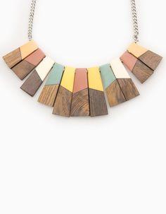 Wood detail necklace - NECKLACES - WOMAN | Stradivarius United Kingdom