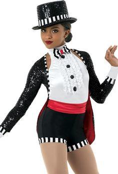 Tuxedo Biketard with Cummerbund Pop Star Costumes, Dance Recital Costumes, Tap Costumes, Ballet Costumes, Black And White Tuxedo, Black Sequin Top, Black Sequins, Zebra Costume, Halloween Disfraces