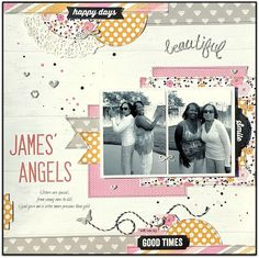"""GrandDiva's Creative Corner: James' Angels"""" Layout ~ Sketches In Thyme Sketch the colour combo Wedding Scrapbook Pages, Scrapbook Paper Crafts, Scrapbook Albums, Scrapbook Layout Sketches, Scrapbooking Layouts, Multi Photo, Photo Layouts, Yearbook Theme, Yearbook Layouts"""