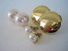 Vintage Retro Pearl and Gold Earrings Set from Floral Ecstacy on Etsy, $5.25