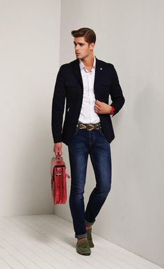 Shop this look on Lookastic:  http://lookastic.com/men/looks/long-sleeve-shirt-blazer-watch-skinny-jeans-briefcase-tassel-loafers/7972  — White Long Sleeve Shirt  — Navy Blazer  — Red Rubber Watch  — Navy Skinny Jeans  — Red Leather Briefcase  — Olive Suede Tassel Loafers