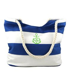 Look what I found on #zulily! Blue & White Stripe Monogram Accessory Tote #zulilyfinds