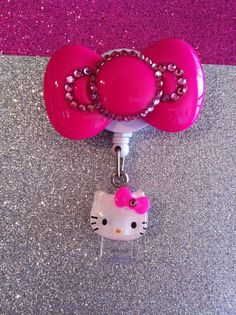 Hot Pink Bow Badge Holder. $15.00, via Etsy.