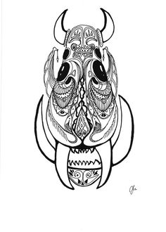Pen & Ink drawing of a fictional beast by SomeCatchyName on Etsy