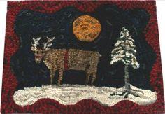 Primitive Hooked Rug Reindeer Moonlit Night Before Christmas