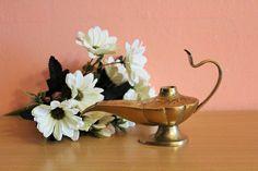 Solid Brass Oil Lamp, Incense Burner, Candle Holder, Candle Stick Holder, Aladdin Magic Lamp by Grandchildattic on Etsy
