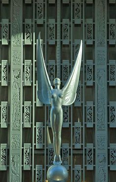 Art Deco ~ New York City | Angel above the entrance of the Waldorf-Astoria Hotel, Park Avenue. Designed by Schultze & Weaver, 1931