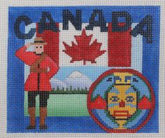 Denise Derusha Canada Hand Painted Needlepoint Canvas 18 Count | eBay $57