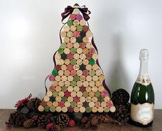 Cork tree - 40 Ideas For a Non-Traditional Christmas Tree via Brit + Co. Cork Christmas Trees, Creative Christmas Trees, Noel Christmas, Christmas Decorations, Christmas Ideas, Xmas Trees, Christmas Mood, Christmas Vacation, Holiday Ideas