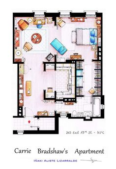 Carrie Bradshaw's Apartment  One day when I build a house this will be the above garage apartment or pool house...