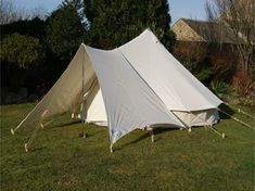 """A universal fitting canopy, the must have add-on to every Bell Tent One size fits all Bell Tents with an """"A"""" frame doorway Available in fabrics to match our Bell. Diy Tent, Teepee Tent, Tent Canopy, Bell Tent Glamping, Camping Glamping, Canvas Awnings, Tent Living, Outdoor Living, Portable Shelter"""
