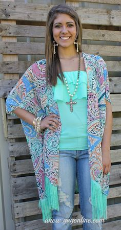 Steal the Show Paisley Kimono in Peach and Blue with Mint Fringe www.gugonline.com Price:$26.95